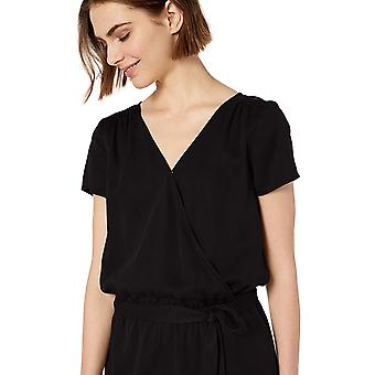 Brand - Daily Ritual Women's Tencel Short-Sleeve Wrap Romper, Black, 16