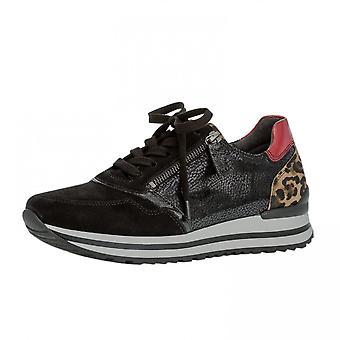Gabor Nulon Schnürung Wide Fit Leder Sneakers In Schwarz