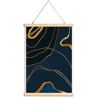 JUNIQE Print - Gold Ghost - Abstract & Geometrische poster in blauw en goud