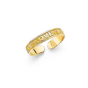 14k Gul Guld tå Ring Smycken Gåvor för kvinnor - 0,8 gram
