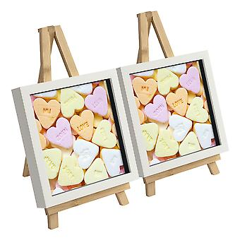 12 Piece Small Wooden Easel and Picture Frame Set - Wedding or Special Events Display