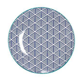 نيكولا الربيع هندسية لوحة جانبية منقوشة - صغير الخزف طبق الطعام - الأزرق الداكن - 19cm