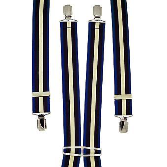 Krawaty Planet Royal Blue, Navy Blue & Cream Striped Męskie i apos;s Spodnie Szelki