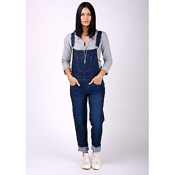 Dottie ladies regular fit dungarees - darkwash