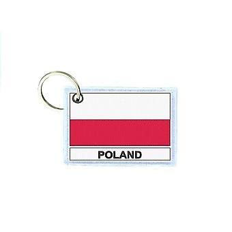 Porte cles cle clefs imprime double face drapeau PL pologne