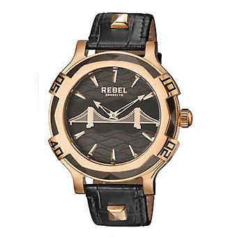 Rebel Men-apos;s RB102-8071 Brooklyn Bridge Rose-Gold IP Steel Black Leather Watch
