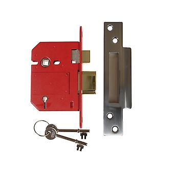 Union UNNJ2200SC30 Strongbolt 5 Lever Mortice Sash Lock 81mm Satin Chrome Box