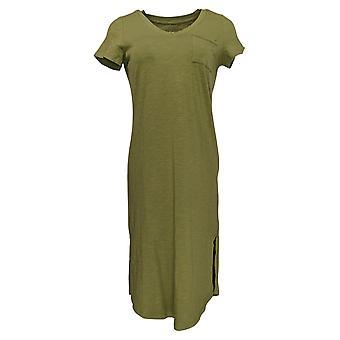 C. Wonder Petite Dress Essentials Slub Knit Midi Olive Green A289779
