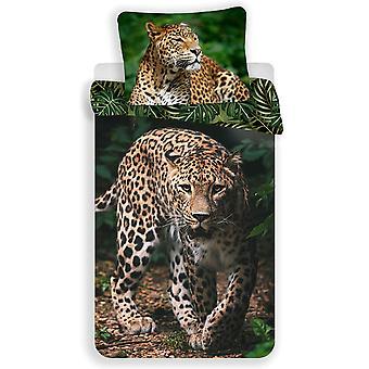Capa de edredom único leopardo e conjunto de fronha - Tamanho Europeu