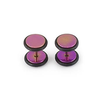 Fake faux cheater illusion ear plug earrings with metallic finish 16g