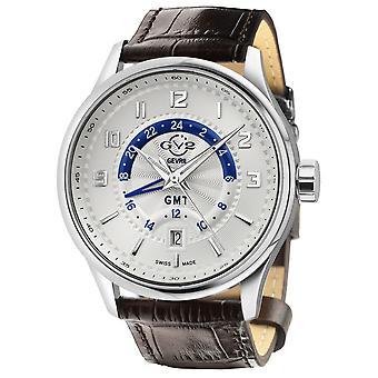 GV2 Men's Giromondo Silver Dial Brown Calfskin Leather Watch