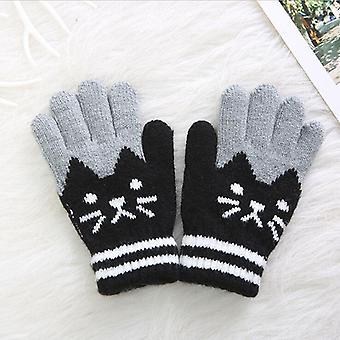 Children Kid Magic Cartoon Cat Splice Gloves Mittens Stretchy Knitted Winter