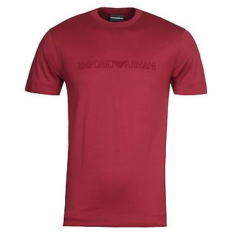 Emporio Armani Velvet Logo Burgundy T-Shirt