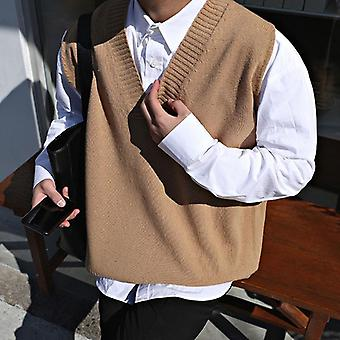 Sweater Vest Men V-neck, Sleeveless Solid Simple, Knitted Chic Preppy Style