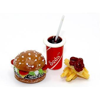 Dukker House Burger Fries & Drik fastfood Take Away Miniature Mad Tilbehør