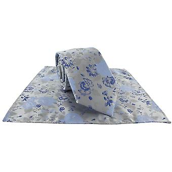 Michelsons av London Floral Bryllup Slips og Pocket Square Sett - Blå
