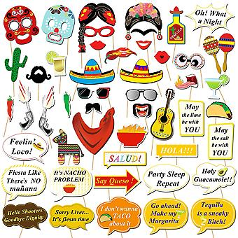 Howaf mexican fiesta photo booth props kit, funny mexican carnival props party supplies for cinco de