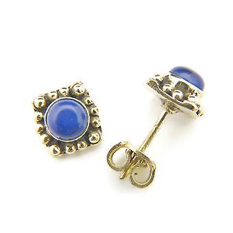 Boucles d'oreilles en laiton lapis lazuli bleu (932-01-009-06)
