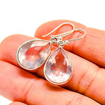 "White Quartz Earrings 1 1/4"" (925 Sterling Silver)  - Handmade Boho Vintage Jewelry EARR411003"