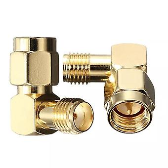 10Pcs DANIU SMA Male To SMA Female Jack Right Angle Crimp RF Adapter Connector