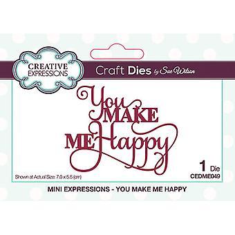 Creative Expressions Mini Expressions -kokoelman leikkaus kuolee - teet minut onnelliseksi
