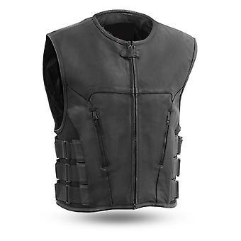Mkl - rambo men's motorcycle swat style leather vest