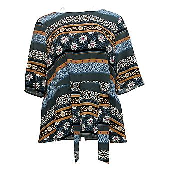 Denim & Co. Women's Top Luxe Stretch Printed Elbow-Sleeve Cinza A388232