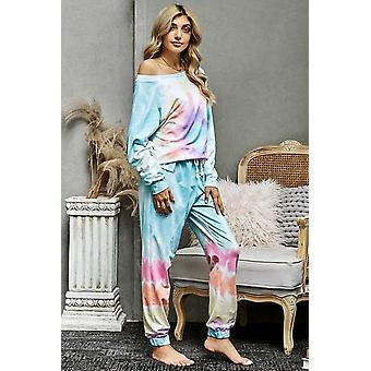Multicolor Cotton Blend Pocket Tie-dye Pant Loungewear Set