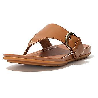 Fitflop Graccie™ sandalias post de punta de cuero en bronceado claro