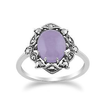 Jugendstil Stil Oval Lavendel Jade Cabochon & Marcasite Statement Ring in 925 Sterling Silber 214R480008925
