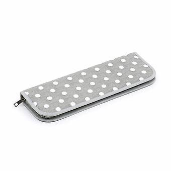 Hobby Gift Knitting Pin Case: Hard: Filled: Grey Linen Polka Dot
