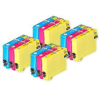 4 Sæt med 3 blækpatroner til udskiftning af Epson 502XL C/M/Y-kompatibel/ikke-OEM fra Go-blæk (12 trykfarver)