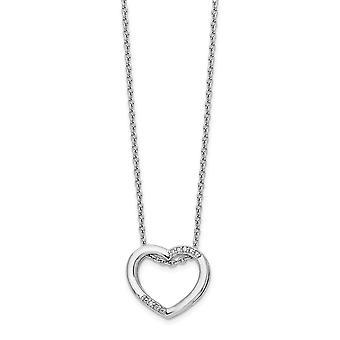 925 Sterling Sølv Polert Hummer Klo Lukking Hvit Is Diamant Kjærlighet Hjerte Halskjede 18 Tommers Smykker Gaver til Kvinner