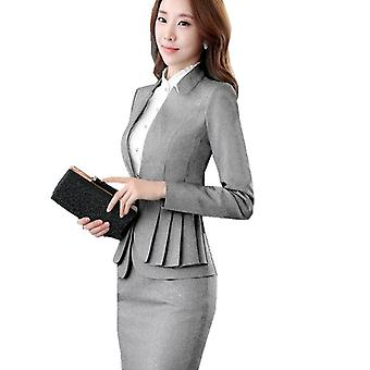 Woman Full Sleeve Ruffle Pleated Blazers Suit Skirt, Jacket
