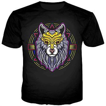 ゴールデンマスクブラックTシャツを着たすべての聖なるライオン
