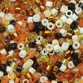 Perline di semi Miyuki Delica, taglia 11/0, tubo da 7,2 grammi, #MIX04 mix di wheatberry