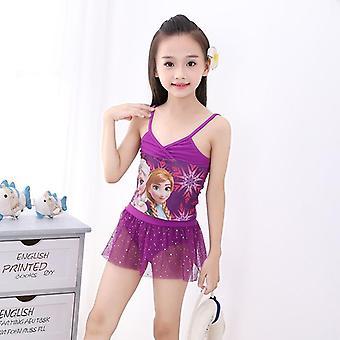 Maiô split biquíni meninas vestido de duas peças desenho animado impressão maiô para festa