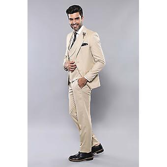Patterned beige vested suit | wessi