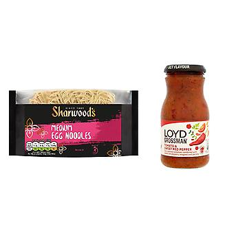 Kit Loyd Grossman made with 2 products | Sweet Red Pepper Sauce Jar 350g, Sharwoods Medium Egg Noodles 340g