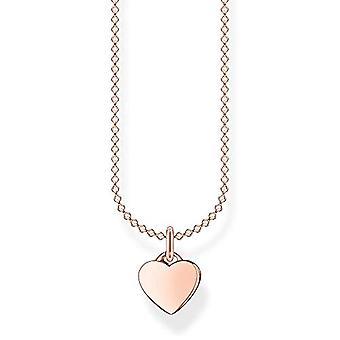 Thomas Sabo Sterling 925 hopea naisten kaulakoru, ruusukulta sydän, pituus 38-45 cm