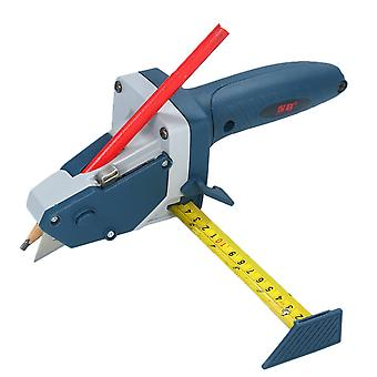 All-in-one gypsum board cutting tool with measuring tape and utility knife mark cut drywall