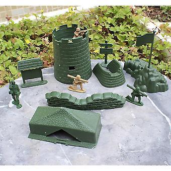 Neue 7pcs World War 2 Armee Bau Spielzeug mit Zelt Abdeckung Schlachtfeld Figuren ES12812