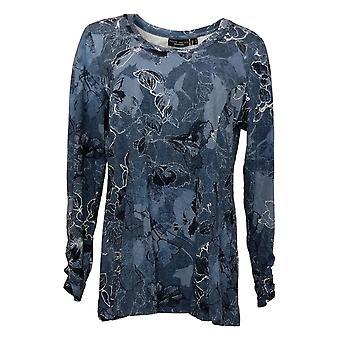 Susan Graver Women's Top Weekend Printed Cotton Modal Tunic Blue A367766