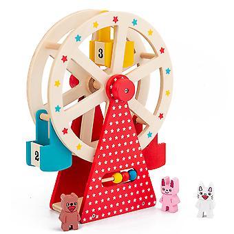 Barns simuleringsfärjor hjulleksak, manuell roterande träfärjor hjul