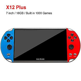 X12 artı 7 inç video oyun konsolu 1000 oyunlarda dahili 16gb el tipi çift joystick oyun denetleyicisi spupport av çıkış tf kartı