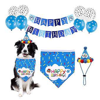 Pet birthday party decoration set birthday hat, triangle scarf(Blue)