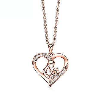 Women Necklace Mother Day Gift Love Heart Pink Pendant Collarbone For Birthday Gift