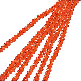 Crystal Beads, Faceted Rondelle 1.5x2.5mm, 2 Strands, Transparent Red