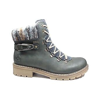 Rieker Y9131-54 Forest Green Womens Zip/Lace Up Water Resistant Ankle Boots