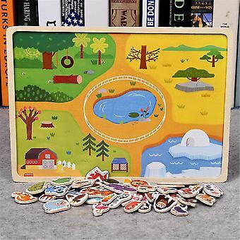 أطفال خشبية المغناطيسي لغز الحيوان وحركة المرور لعبة لعبة الأطفال الطفل التعلم المبكر التعليمي لعب بانوراما الألغاز zxh